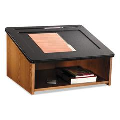 Tabletop Lectern, 24w x 20d x 13-1/2h, Medium Oak/Black