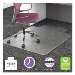 UltraMat All Day Use Chair Mat for High Pile Carpet, 45 x 53 w/Lip, Clear