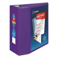 "Heavy-Duty View Binder w/Locking EZD Rings, 5"" Cap, Purple"