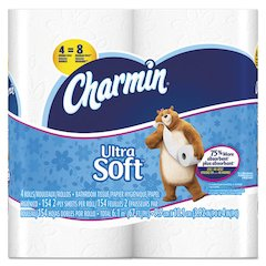 Ultra Soft Bathroom Tissue, 2-Ply, 4 x 3.92, 154/Roll, 4 Roll/Pack, 10Pk/Ctn