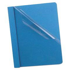 Premium Paper Clear Front Cover, 3 Fasteners, Letter, Light Blue, 25/Box