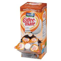 Liquid Coffee Creamer, Vanilla Caramel, 0.38 oz Mini Cups, 50/Box, 4 Boxes/Carton, 200 Total/Carton