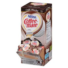 Liquid Coffee Creamer, Café Mocha, 0.375 oz Cups, 50/Box