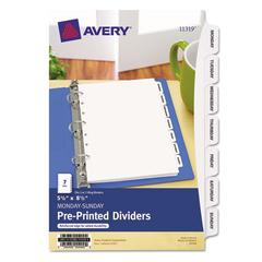 Preprinted Tab Dividers, 7-Tab, 8 1/2 x 5 1/2