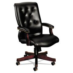 6540 Series Executive High-Back Swivel Chair, Mahogany/Black Vinyl Upholstery