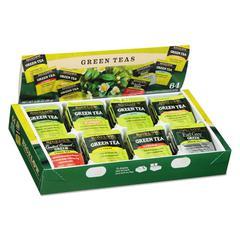 Green Tea Assortment, Individually Wrapped, Eight Flavors, 64 Tea Bags/Box