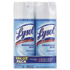Disinfectant Spray, Crisp Linen, 12.5 oz Aerosol, 2/Pack