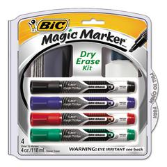 Magic Marker Low Odor & Bold Writing Dry Erase Marker Kit, Chisel, Assort, 4/PK