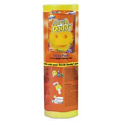 """Scratch-Free Scrubbing Sponge, 4 1/8"""" Diameter, Yellow, Polymer Foam, 8/Pack"""