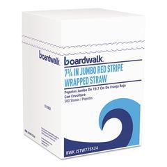 "Jumbo Straws, 7 3/4"", Plastic, Red w/White Stripe, 500/Pack, 24 Pack/Carton"