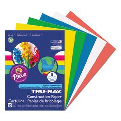 Tru-Ray Construction Paper, 76 lbs., 9 x 12, Assorted Primary, 50 Sheets/Pack