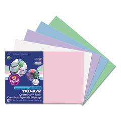 Tru-Ray Construction Paper, 76 lbs., 12 x 18, Assorted Pastel, 50 Sheets/Pack
