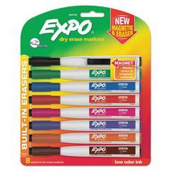 Magnetic Dry Erase Marker, Fine Tip, Assorted, 8/Pack