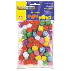 """Glitter Pompons, 1/2"""" Multicolored Glitter Poms, Assorted Colors, 80/Pack"""