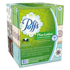 Plus Lotion Facial Tissue, 2-Ply, White, 124 Sheets/Box, 6 Boxes/Pack, 4 Packs/Carton