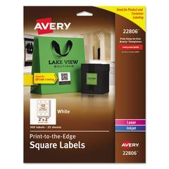 Square Print-to-the-Edge Labels w/TrueBlock, 2 x 2, White, 300/Pack
