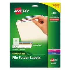 Removable 1/3-Cut File Folder Labels, Inkjet/Laser, .66 x 3.44, WE/ASST, 750/PK
