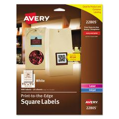 Square Print-to-the-Edge Labels w/TrueBlock, 1 1/2 x 1 1/2, White, 600/PK