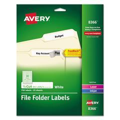Permanent File Folder Labels, TrueBlock, Inkjet/Laser, White, 750/Pack