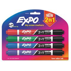 2-in-1 Dry Erase Markers, 5 Assorted Colors, Medium, 4/Pack