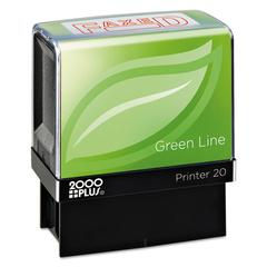 Green Line Message Stamp, Faxed, 1 1/2 x 9/16, Red