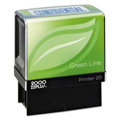 Green Line Message Stamp, Confidential, 1 1/2 x 9/16, Blue