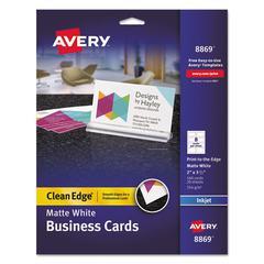 Print-to-the-Edge True Print Business Cards, Inkjet, 2x3 1/2, Wht, 160/Pk