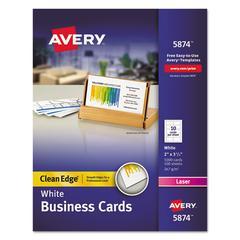Clean Edge Business Cards, Laser, 2 x 3 1/2, White, 1000/Box