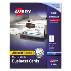 True Print Clean Edge Business Cards, Inkjet, 2 x 3 1/2, White, 1000/Box