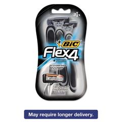 Flex 4 Disposable Men's Razor, 4 Blades, Gray/Black, 4/Pack