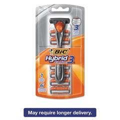 Hybrid 3 Comfort Disposable Men's Razor, 3 Blades, Silver/Orange, 6/Pack