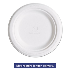 "Eco-Products Renewable & Compostable Sugarcane Plates, 6"", 1000/Carton"