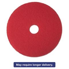 "Low-Speed Buffer Floor Pads 5100, 17"" Diameter, Red, 5/Carton"
