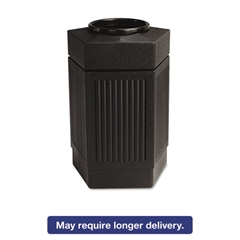 Canmeleon Indoor/Outdoor Receptacle, Pentagon, Polyethylene, 30gal, Black