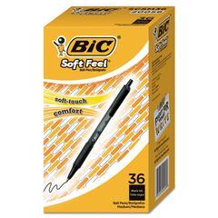 Soft Feel Retractable Ballpoint Pen, Black, 1mm, Medium, 36/Pack