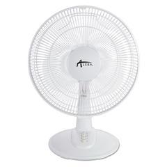 """12"""" 3-Speed Oscillating Desk Fan, Plastic, White"""