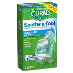 Soothe & Cool Clear Gel Bandages, Assorted, Clear, 8/Box