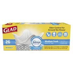 OdorShield Medium, Quick-Tie Trash Bags, 8 gal, .57 mil, White, 26/Box