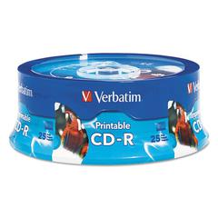 CD-R, 700MB, 52X, White Inkjet Printable, Hub Printable, 25/PK Branded Spindle