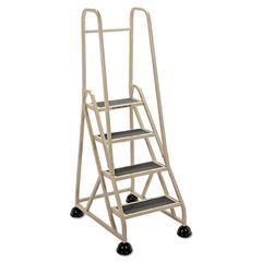 "Cramer Four-Step Stop-Step Folding Aluminum Ladder w/Two Handrails, 66 1/4"" High, Beige"
