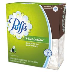 "Plus Lotion Facial Tissue, White, 1-Ply, 8 1/5"" x 8 2/5"", 56/Box, 4/Pack"