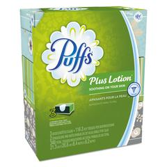 Plus Lotion Facial Tissue, White, 2-Ply, 116/Box, 3 Boxes/Pack, 8 Packs/Carton