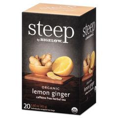 steep Tea, Lemon Ginger, 1.6 oz Tea Bag, 20/Box
