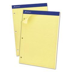 Double Sheets Pad, Narrow/Margin Pad, 8 1/2 x 11 3/4, Canary, 100 Sheets