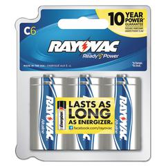 Alkaline Battery, C, 6/Pack