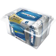 Alkaline Battery, D, 6/Pack