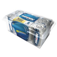 High Energy Premium Alkaline Battery, D, 8/Pack