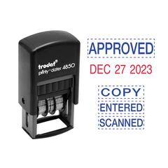 Economy 5-in-1 Micro Date Stamp, Self-Inking, 3/4 x 1, Blue/Red