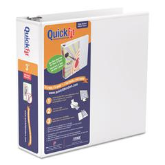 "QuickFit Round-Ring View Binder, 3"" Capacity, White"