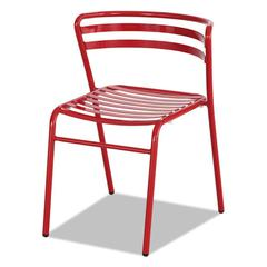 CoGo Steel Outdoor/Indoor Stack Chair, Red, 2/Carton